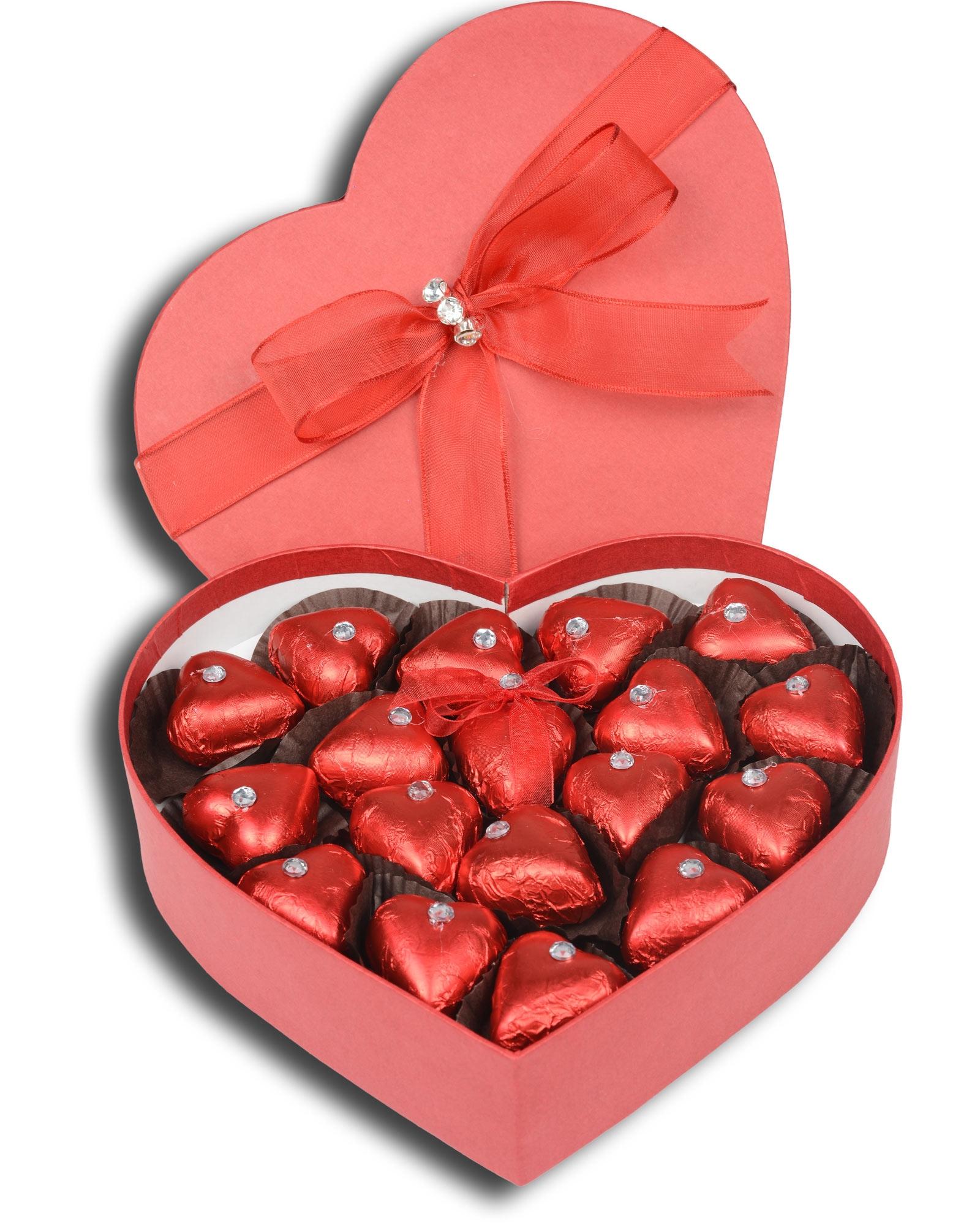Kırmızı Kalpli Sevgiliye Çikolata Kutusu  2