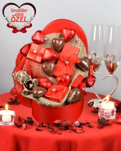 Hediyeli Sevgiliye Çikolata Kutusu 1