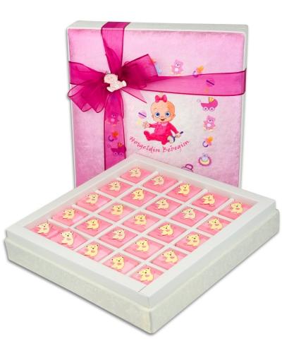 Kadife Kutu Kız Bebek Çikolatası 1