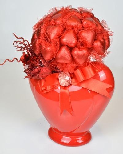 Kalp Vazo Sevgiliye Çikolata 3