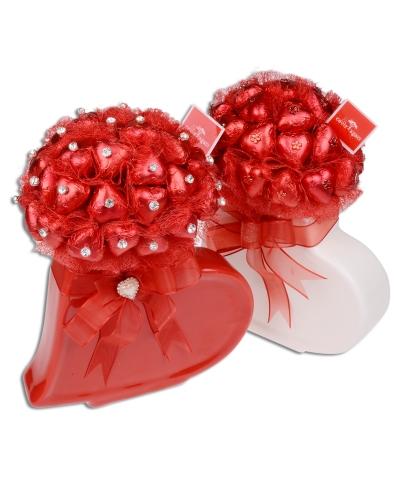 Kırmızı Beyaz Kalp Sevgililer Günü Hediyesi