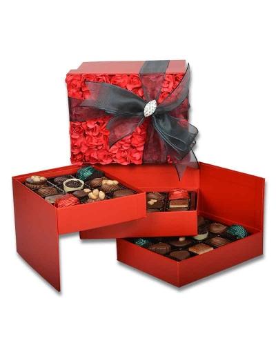 Kırmızı Gül Kapaklı Çikolata Kutusu 3