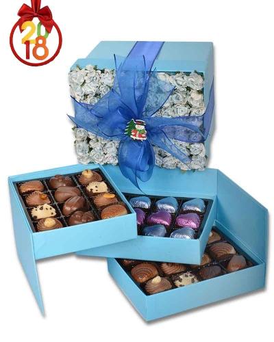 Mavi Gül Kapaklı Yılbaşı Çikolatası 1