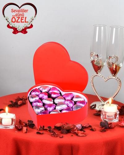 Mor Kalpli Kırmızı Sevgiliye Çikolata Kutusu