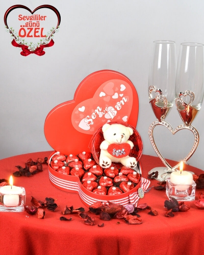 Venüs Sevgiliye Çikolata Sepeti 1