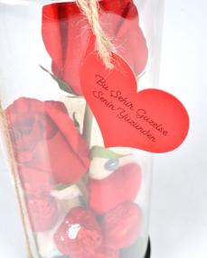 Güllü Cam Fanus Sevgililer Günü Çikolatası  3