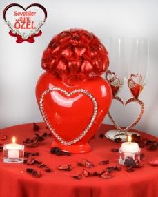 Kalp Vazo Sevgiliye Çikolata  0