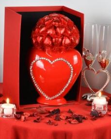 Kalp Vazo Sevgiliye Çikolata  1
