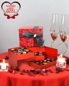 Kırmızı Gül Kapaklı Çikolata Kutusu  0