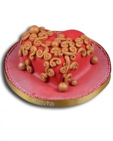 Kırmızı Kalp Doğum Günü Pastası  0