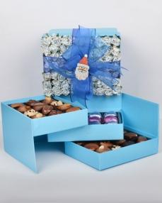 Mavi Gül Kapaklı Yılbaşı Çikolatası  0