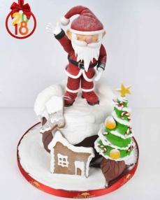 Noel Baba ve Çam Ağacı Yılbaşı Pastası