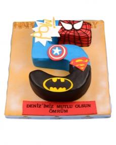Süper Kahramanlar Doğum Günü Pastası  0