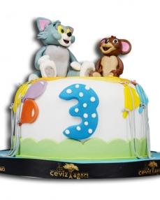 Tom ve Jerry Maceraları Doğum Günü Pastası  1
